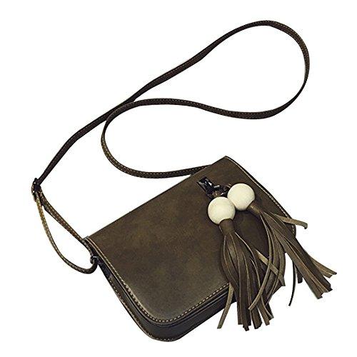 Longra Cuoio di modo delle donne di sacchetto nappe borsa Croce corpo spalla Verde