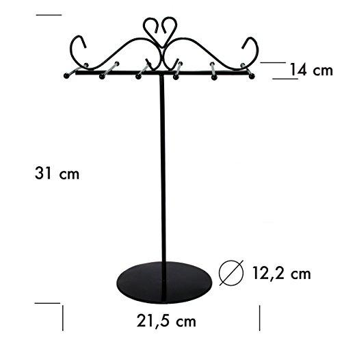 Schmuckständer für Ketten Armreife - Schwarz 31 x 22 x 14 cm - Schmuckhalter Aufbewahrung Präsentation - Grinscard