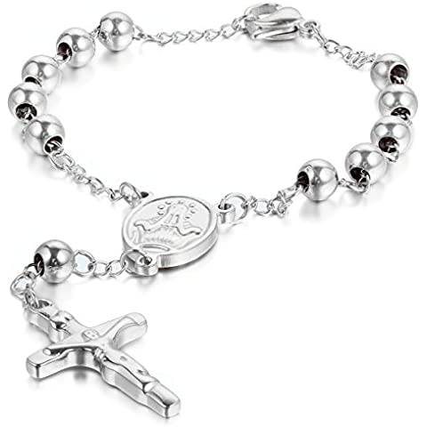 Jewelrywe Gioielli Acciaio Inossidabile Bracciale Collegamento Perline Catena Catenina Argento Rosario Jesus Gesu Cristo Crocifisso Croce Retro Uomo