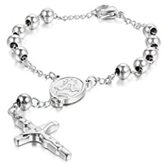 Idea Regalo - Oidea, braccialetto unisex, con ciondolo del crocifisso di Gesù, in acciaio inox, lungo 22cm