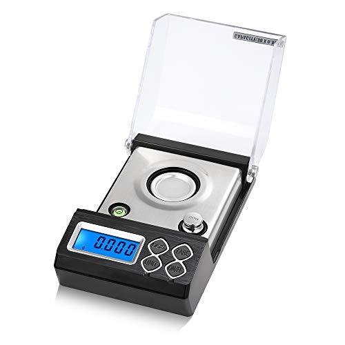 KKmoon Báscula de miligramos digital profesional de alta precisión 30g / 0,001g Báscula de balancín electrónica pequeña Báscula de oro joyería de quilates Peso digital con pesas