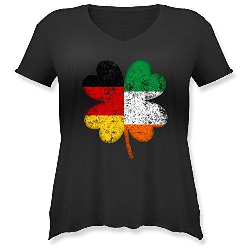 St. Patricks Day - Deutschland Irland Kleeblatt - M (46) - Schwarz - JHK603 - Weit geschnittenes Damen Shirt in großen Größen mit ()