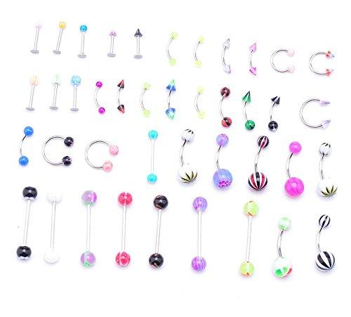 Ipink - Piercing in acciaio INOX chirurgico, anodizzato, per sopracciglio, labbro, orecchio, naso, forma curva, confezione da 42 pezzi, colori arcobaleno