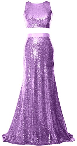 MACloth Women 2 Piece Prom Dress Crop Top Sequin Long Formal Party Evening Gown Lavendel
