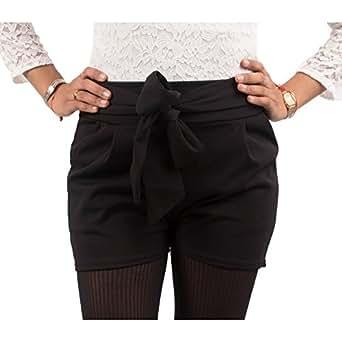 84d0292a5c8 Primtex Short Noir Femme à Noeud Taille Haute Style habillé avec Ceinture  Noeud   Taille élastique-