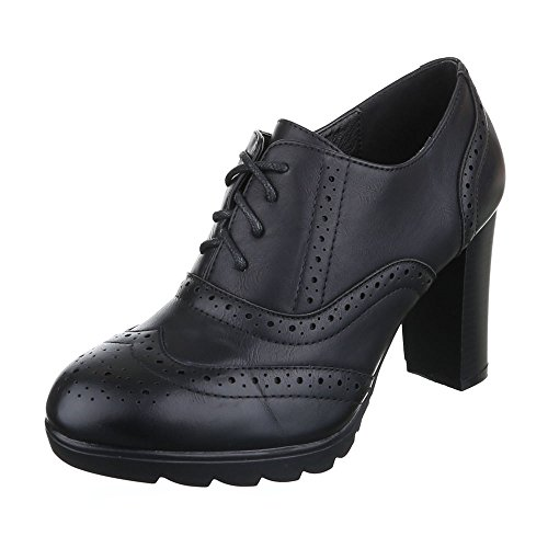Ankle Boots Damen Schuhe Chelsea Boots Pump Perforierte Schnürsenkel Ital-Design Stiefeletten Schwarz