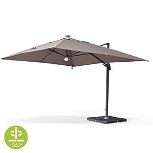 alice 39 s garden luce ampelschirm mit solarbetriebener led beleuchtung rechteckig 3. Black Bedroom Furniture Sets. Home Design Ideas
