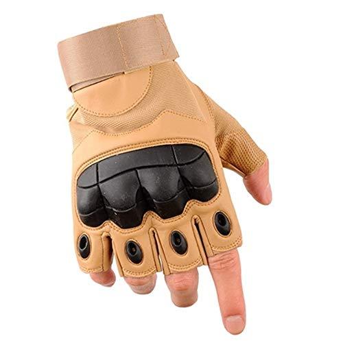Befreien Handschuhe Outdoor PU Leder taktische fingerlose Handschuhe Militär Armee Schießen Wandern Jagd Sport Radfahren Reiten halbe Fingerhandschuhe (Color : Brown, Size : XL) -