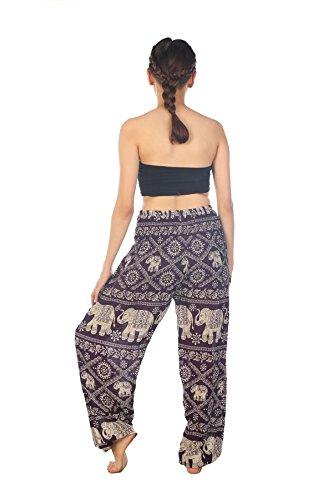 Lofbaz Damen Haremshose mit gesmoktem Bund Blumenmuster Elefantendruck Funky Elephant 1 Violett
