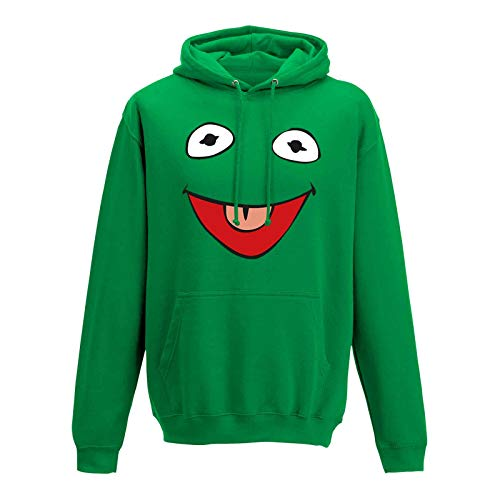 Jimmys Textilfactory Hoodie Frosch Kostüm Karneval Fasching Sesamstraße 10 Farben Herren XS - 5XL Verkleidung Rosenmontag Fastnacht Umzug Sitzung Narren, Größe: 3XL, Farbe: grün/Kelly Green