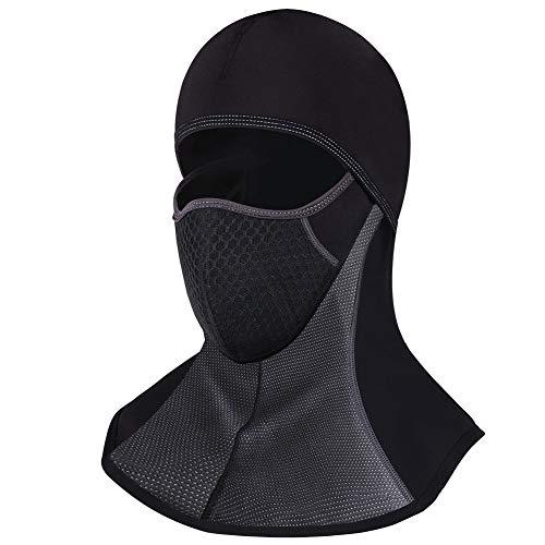 ROTTO Passamontagna Moto Balaclava Nero Sci Snowboard Bici Mask Impermeabile Termico A Prova di Vento Dimensioni Universali (Nero-A(con Cerniera))