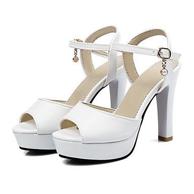 SANMULYH  Scarpe Donna Pu Primavera Cadono Comfort Novità Sandali Chunky Heel Peep Toe Fibbia Hollow-Out Per Office & Carriera Party & Sera Arrossendo Bianco