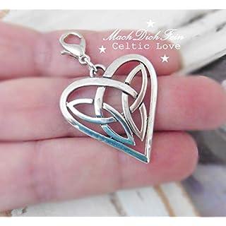 1 Anhänger Keltischer Knoten Herzform Mittelalter Ritter Liebesknoten Tribal Charm Karabiner