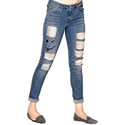 Estrolo EMOJI RIPPED DENIM JEANS Ankle Length Skinny Fit Women's Jeans