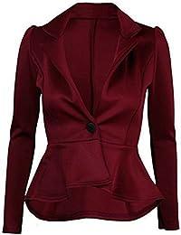 Fast Fashion - Blazer Haut Péplum Plaine Seul Bouton Manteau De Frill - Femmes