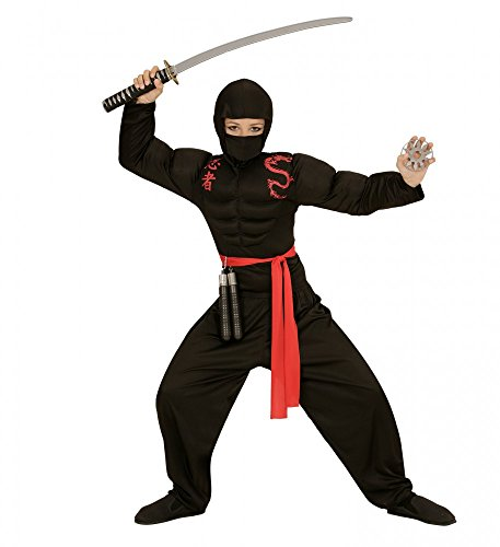 Kinder-Kostüm Super Muskel Ninja Jungen Samurai Kämpfer , Kindergröße:140 - 8 bis 10 (Kostüme Muskel Kleinkind Ninja)