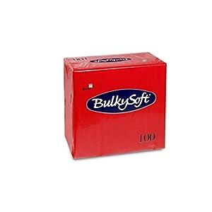 Bulky Soft BS-32028 Servietten 1/4 Falz, 3-lagig, 40 cm x 40 cm, Rot (100-er Pack)