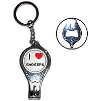 I Love Heart Badgers - Nail clipper apribottiglie anello chiave del metallo