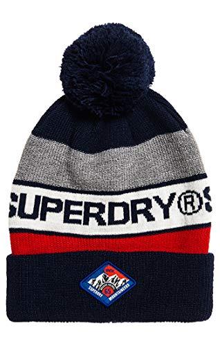 Superdry Herren Strickmütze Trophy Beanie, Blau (Dark Navy/Red Nat), One Size (Herstellergröße: OS)