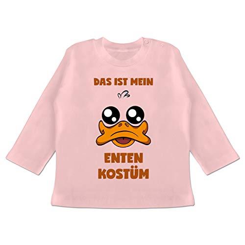 Karneval und Fasching Baby - Das ist Mein Enten Kostüm - 18-24 Monate - Babyrosa - BZ11 - Baby T-Shirt Langarm (Ente Donald Kostüm)