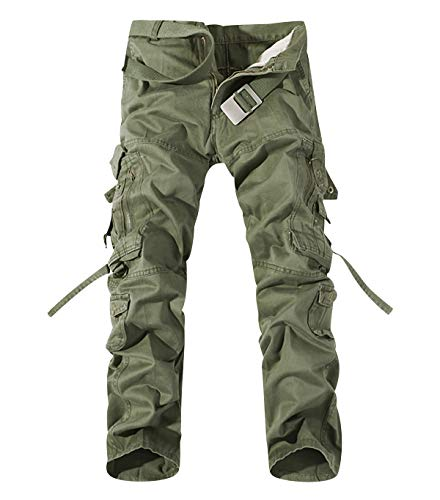 Pantaloni cargo uomo con tasche laterali pantaloni militari tasconi larghi pantaloni militare elasticizzati trekking baggy slim skinny lunghi oversize classici casual calzoni vintage outdoor verde 40