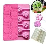 KBstore Cake Pops Silikon Silikonform für Lollis - Pfoten Paw und Emoji Form für Lutscher Herstellen - Silikon backform für Cake-Pops/Schokoladen/Bonbons/Pralinen/Fondant - Gib 100 Cakepops Sticks