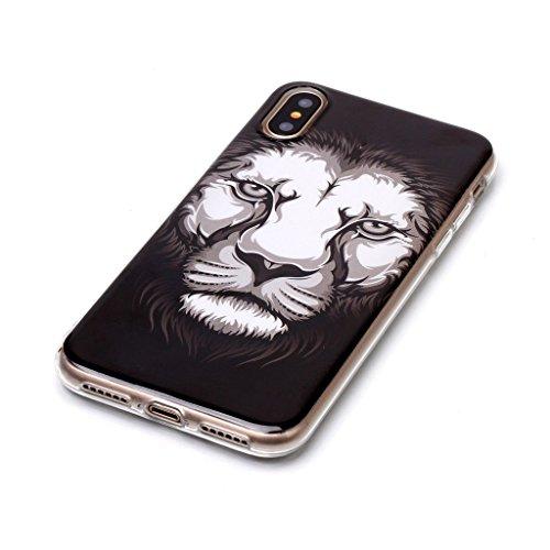 "Coque pour Apple iPhone X ,IJIA Transparent Caméra TPU Doux Silicone Bumper Case Cover Shell Housse Etui pour Apple iPhone X (5.8"") B7"