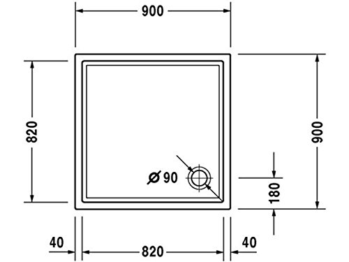 41GzCmdDhJL - Duravit starck - Plato ducha 900 slimline antislip