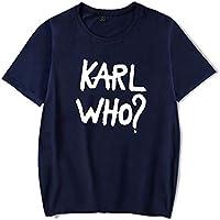 Camiseta Moda Karl-Lagerfeld Impresión Manga Corta Tee Unisexo Suelto Camiseta Sencillo Salvaje/azul/M