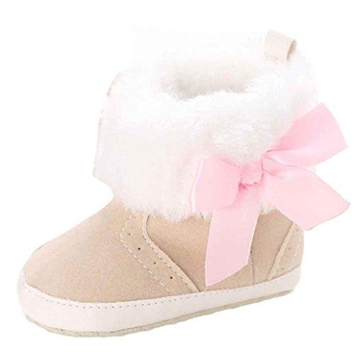 Kingko® Neonata scarpe tenere in caldo morbido Sole Snow Boots morbida greppia Stivali scarpe bambino (12~18 Mesi, Cachi)