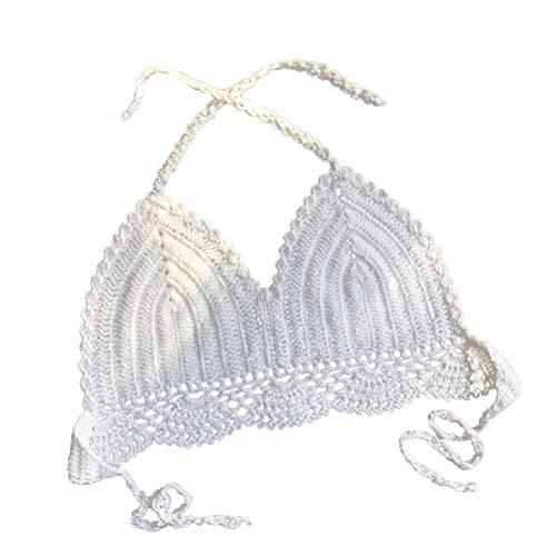 FENICAL Handarbeit häkeln Bralette Bikini Top Strand Stricken Bralette aushöhlen Stricken Bikini Unterwäsche für Frau Dame weiblich - Größe S (weiß)