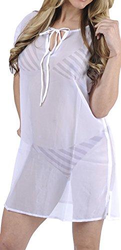 LA LEELA Weiß superleichten Schiere Chiffon Ebene beiläufig Plus Größe Frauenbadeanzug 4 in 1 Strand-Bikini-Vertuschung Tunika Lounge Grund Kleid XL -