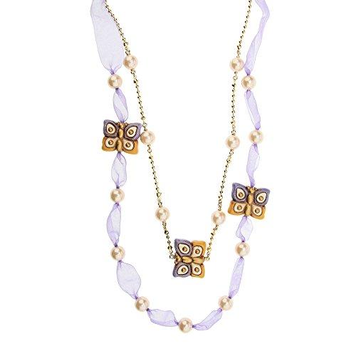 Thun v3188h89 collana old classic nouveau papillon, ottone dorato, poliestere, perla sintetica, ceramica, viola, 16 x 7.6 x 3.7 cm