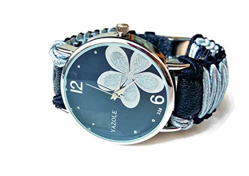 Orologio da Polso Nero Elegante Bicolore Quadrante on il Fiore Regalo Donna Compleanno Originale