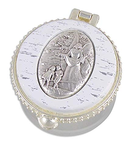 k.a Zur ersten heiligen Kommunion, zur Taufe, zur Hochzeit, Rosenkranz Rosary,Schimmernde Perlen im hochwertigen Schutzengel Schmuckdöschen
