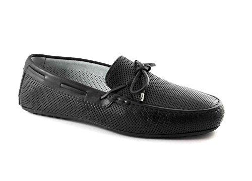 BLACK GARDENS 5091 schwarze Schuhe Mann Faulenzer elegante Rohr Löcher Nero