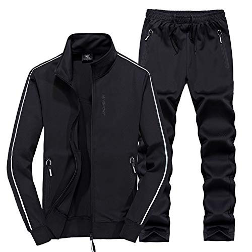 ZWYY Mens Tracksuit Set, Full Zip Spring Fall Jogging Sweat Suits Casual Running Polyester Activewear Sport Gym Top Long Pants 2 Piece Set,Black,7XL -