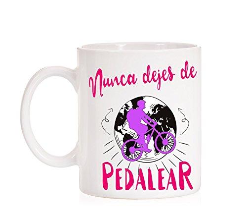 MardeTé Taza Nunca Dejes de pedalear Taza para Deportistas y Ciclistas. Taza Regalo Deporte.