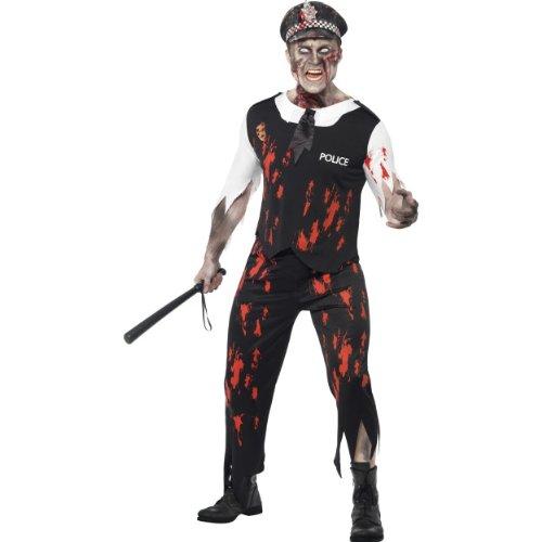 Smiffys Halloween Herren Kostüm Zombie Polizist blutig als Untoter Größe L