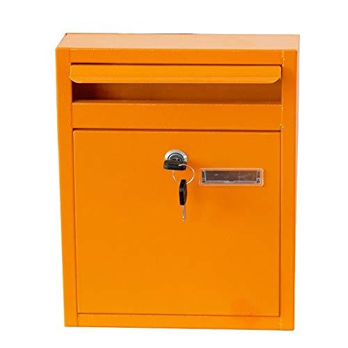 Shao jun cassetta delle lettere - cassetta degli attrezzi per lettere americana americana in ferro battuto, dipinta a mano gialla, adatta per villa, cortile, famiglia - 32x24x8cm impermeabile all'aria