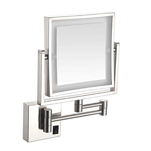 Espejo de Maquillaje Iluminado, Espejo de Maquillaje LED con Espejo de luz telescópico Plegable Rectangular...