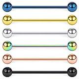 Acefun 6 Stücke Industrial Piercing Stab Knorpel Edelstahl Barbell Piercing Schmuck 14Gauge 6Stk 38mm - Mix Farbe