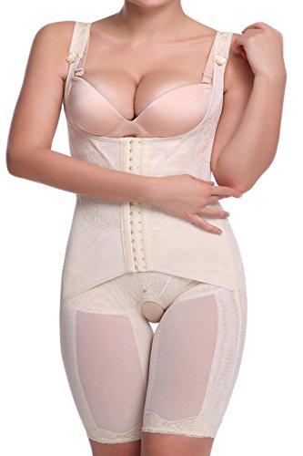 ALICECOCO Damen Shapewear Bauch Weg Taillenformer Schlank Body Shaper angenehm Mieder Bodysuit Miederbody Miederhose (Beige, EU 40-42 ( 2XL ))