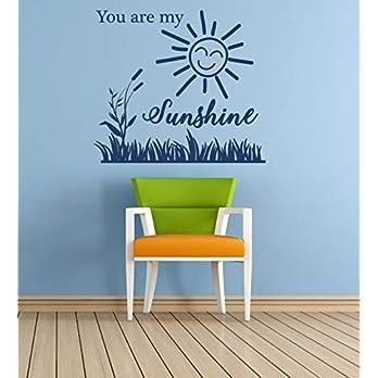 """""""You are My Sunshine"""" Zitat. Vinyl Wandkunst Aufkleber. Wandbild, Aufkleber. Zuhause, Wanddekor. Kinderzimmer, Spielzimmer, Kindergarten"""