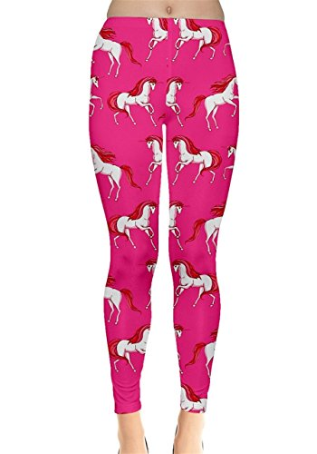 Damen Leggings Hot Pink mit Einhornmotiv  Gr. X-Small,