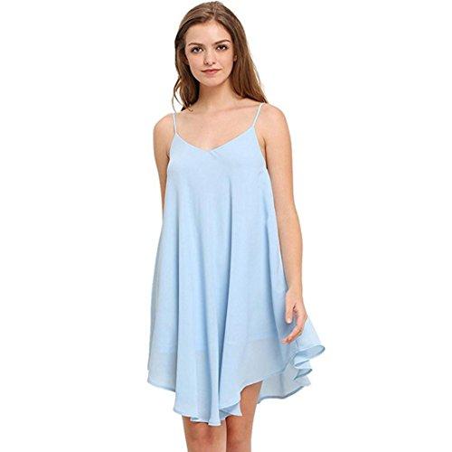 Frauen Sleeveless Kleid,Kingwo Dame Chiffon Kurzes Minikleid Weste Sommer Langes Oberseiten Shirt StrandKleid (S, Hellblau) (Gold Kleid Weste)