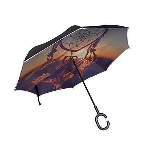 Talismán Indio Dreamcather Nativo Doble Capa Plegable Protección Anti UV Lluvia a Prueba de Viento Carreras Rectas Inversión de Golf Paraguas Invertido Soporte con Mango en Forma de C