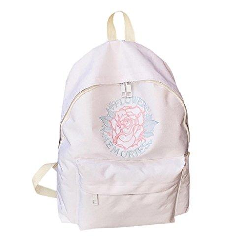 Kangrunmy®Donne ragazze ricamo fiori scuola borsa viaggio zaino borsa Bianca