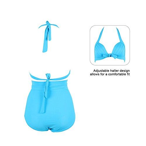 FeelinGirl Vintage Damen Frauen Bademode Bikini High Waist - Bauchweg - Plus Size -2017 Hellblau