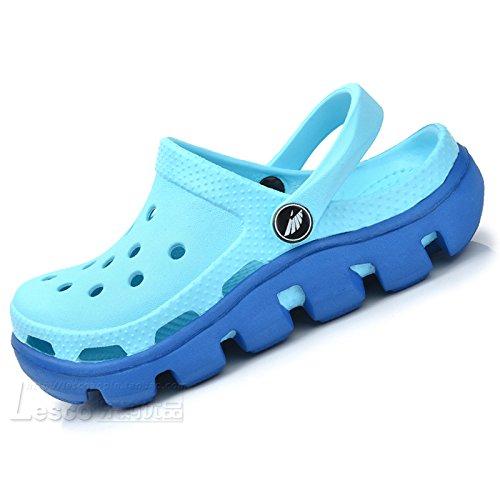 Xing Lin Sandales En Cuir Le Nouveau Trou Trou Chaussures De Plage Chaussures Chaussures Hommes Couple D'Étudiant De L'Été Code Grand Baotou Sandales Chaussons Épais, 43 = La Longueur 270Mm, Vert D'Eau.